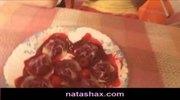 Sasha Blonde and Natasha Shy eat fruit and japanese sweets