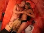 Hot nightclub bathroom threesome