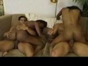 Teen black chicks fuck two cocks