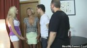 Blonde girl have fun fucking with mature woman and old man