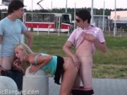 Super hot PUBLIC gangbang orgy cute teen