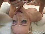 Blonde Cum Drinker Adrianna Nicole Deep Throats Some Cock N' Balls!