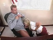 Hot blonde Carmen sucking the principals cock dry