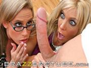 Kylie & Misty split a big cock