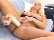 Hot blonde fucking her pussy with two big brutal dildos in HD