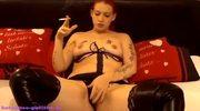 German Tattoo Girl Geile Smoking Dildo Show