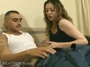 This hot latina sucks off a hot latino guy until he cums.