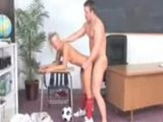 Soccer player Aubrey Adams gets her pussy punished by the dean