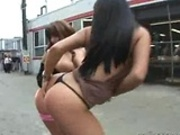 Two hot Latinas in public