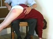 Spanking by her daddys bare hands