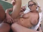 Busty Hillary Scott gets her tight pussy rammed by the principal