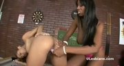 Horny black lesbian girlfriends play with big vibrator