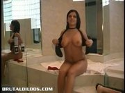 Jessy playing with a brutal dildo