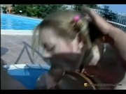Ex-girlfriend sucking cock by the pool