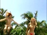 Topless Girls Jumping on Trampoline