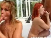 Two women giving BJ outside