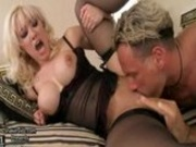big tits on blond bounce as she takes it in the ass