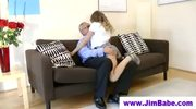 Hot chick is jerking off old man