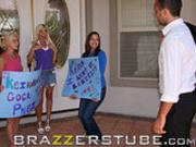 Teen pornslut Britney Amber gets a big present
