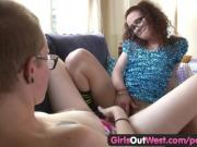 Girls Out West - Hotties rub their hairy pussies