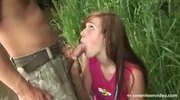 Horny hot teen is fucked hard in the open air