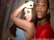 Blonde coed gets fucked hard in a frat party