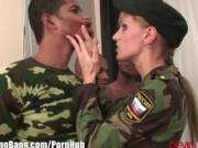 Army Babe Interracialy Gangabanged