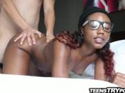 Cute black teen wearing glasses blowjob and fucking