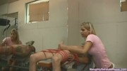 TIED UP MAN GET HANDJOB AND DEEP THROAT