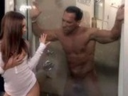 Lindsey Meadows sneaks in for shower sex!