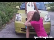 Teens Get Caught Fucking Outside On The Car