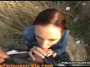Euro babe sucks a strangers cock in an unused drainage pipe