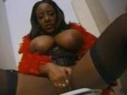 Busty Ebony Sierra Fucks Three In Bathroom