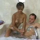 Mia Smiles gives a soapy thai massage with a happy ending