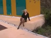 Flashing Pantyhose Housewife Slut Exposing On Side Of Road