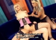 Threesome in fishnet lingerie