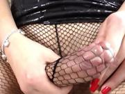 Flirty tranny Josiane strokes her beefy cock until it cums