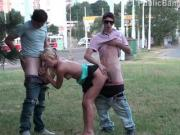 Risky public street teen threesome orgy gangbang