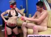Cuckold femdom slut sucks black cock