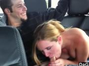 Naive Girlfriend Shows Tits In The Car