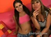 Teen and her mom team up to fuck a dudebut first the teen shows her tits and pussy to the camera