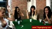 Trannies play a dirty strip poker game