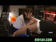 busty yuma asami gives bartender great blowjob