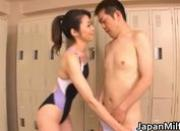 Asian swimsuit milf caught sucking