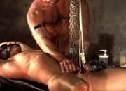 2 young muscle studs explore bondage CBT, testicle stretching and more.