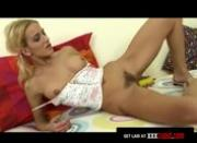 Blonde Schoolgirl Cums With a Dildo