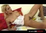 Blonde Schoolgirl Cums With a Dildo