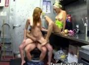 Members Of Fuck Team Five Banged In Commercial Kitchen.