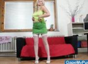 Curvy busty blond babe Jennifer pussy gape