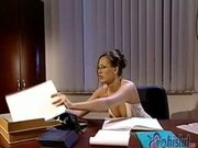 Mandy Bright and her friend alone in office